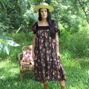 70s Sheer Floral Print Dress